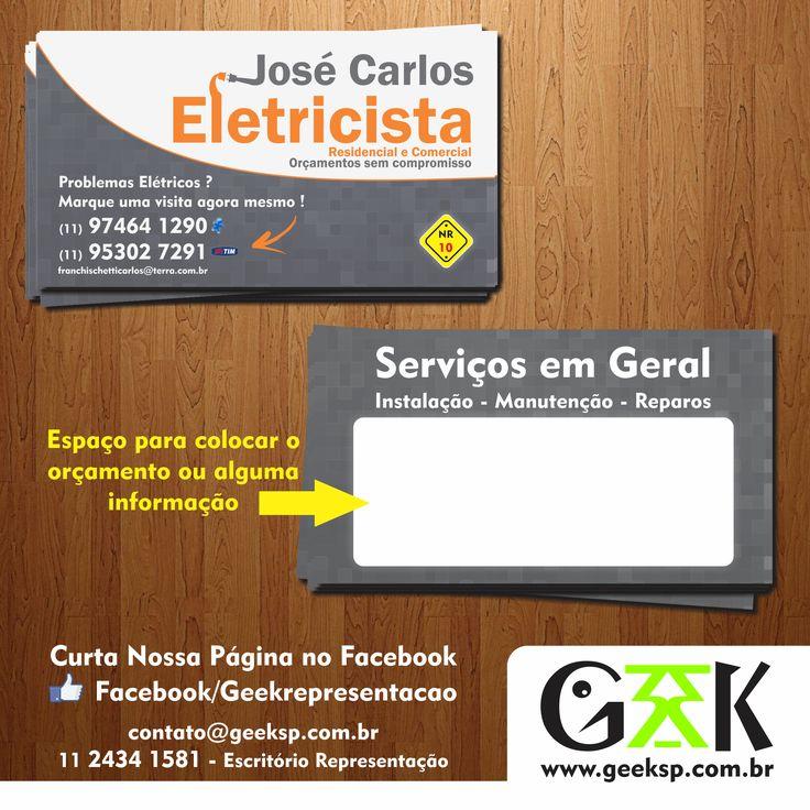 Cartão de Visita Desenvolvido para o Cliente José Carlos Eletricista http://agenciagxk.com.br/