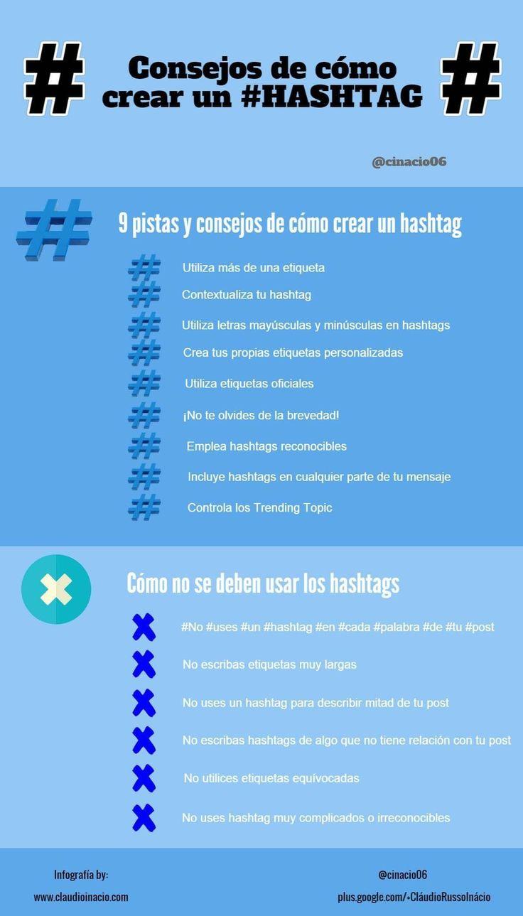 infografia con consejos de como crear hastags en diferentes redes sociales #RedesSociales #Hashtags #CM #CommunityManager
