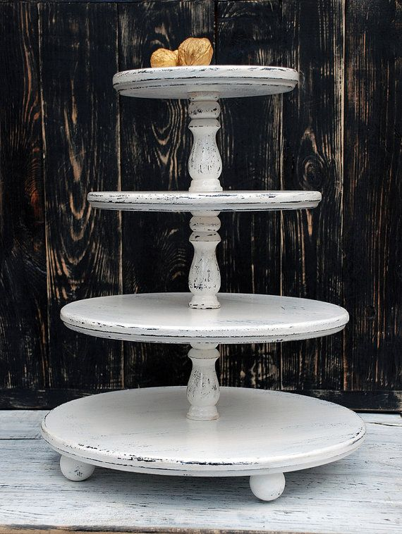 FREE SHIPPING 4-tiered White Wedding Cupcake StandFour by Bogarne