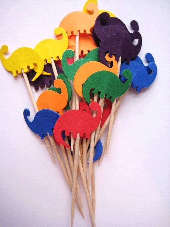 24 Dinosaur Party Picks  Cupcake Toppers  by ThePrettyPaperShop, $3.99