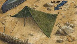 emergency rain shelter, rain shelter, tarp shelter, rain tarp, emergency tarp, hang tarp, put up tarp