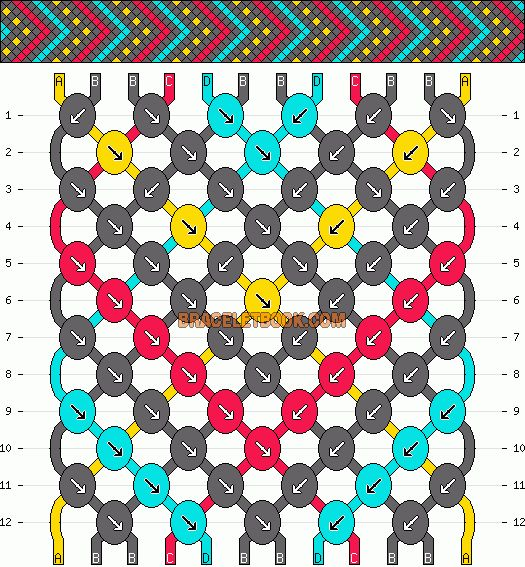 Learn how to tie your own friendship bracelets! _____ _____ _____ _____ _____ _____ _____ Friendship bracelet pattern 3198 by mikkomix #friendship #bracelet #wristband #craft #handmade #DIY #braceletbook #howto #instructions #pattern #chevron #arrows #dots #dotted