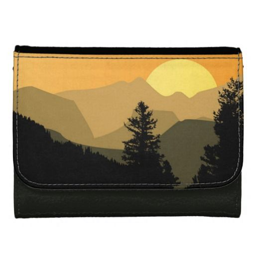 Mountain Sunset Leather Wallet