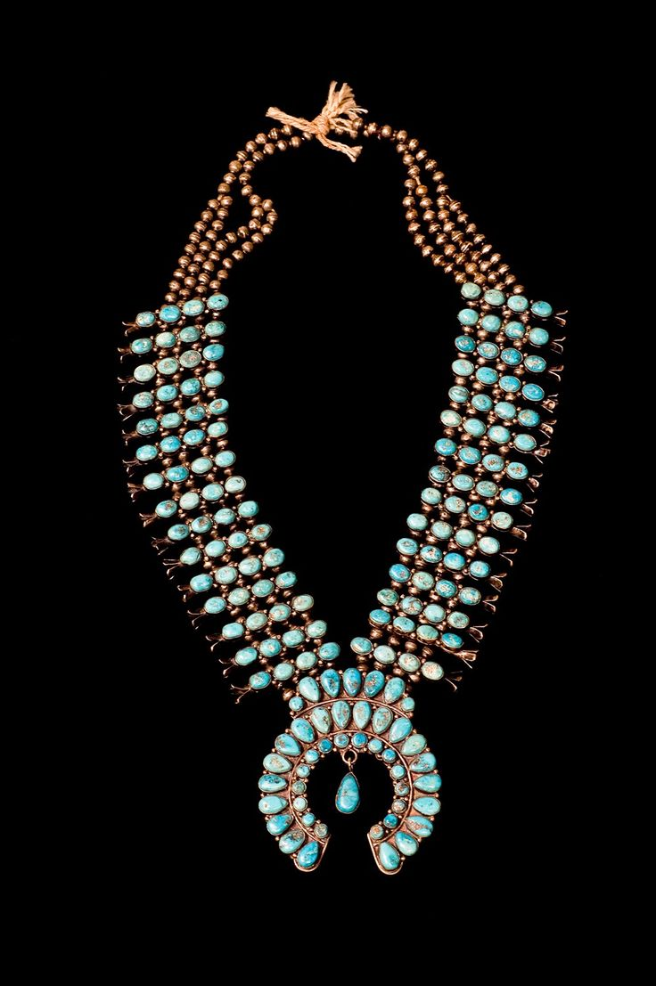 """""""Native American Weaving & Jewelry"""" showcases 60 examples of Hopi, Navajo, Pueblo and Zuni jewelry, like this turquoise necklace.  Photo courtesy of the Art Museum at UK."""