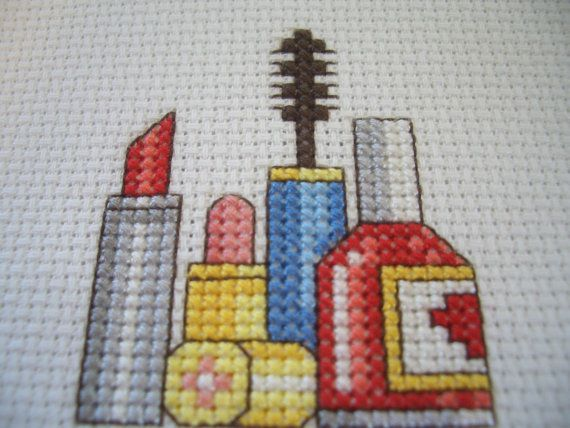 Cross Stitch Makeup Unframed by AnneN on Etsy, $12.00