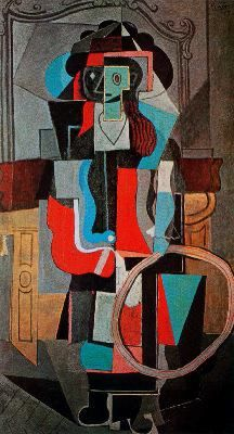 """Pablo Picasso, """"Girl with a Hoop,"""" 1919, Musee National d'Art Moderne, Centre Georges Pompidou, Paris. Cubism."""
