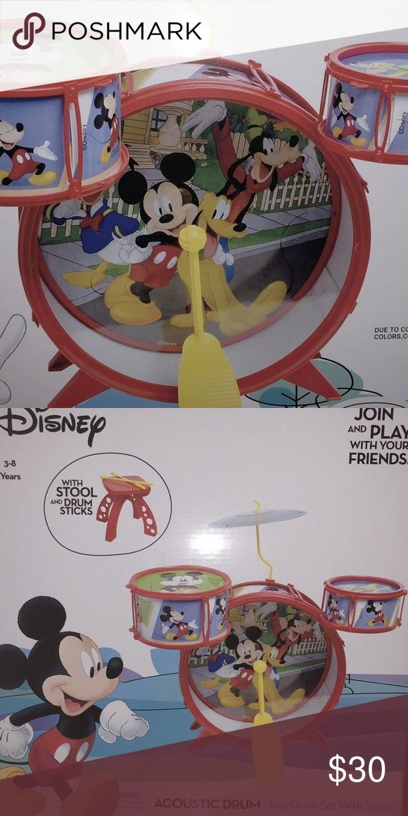 Disney Jr Mickey Mouse Clubhouse Acoustic Drum Set Disney Jr Mickey Mouse Clubhouse Acoustic Drum Set Stool & Sticks Kid Child Size Disney Other