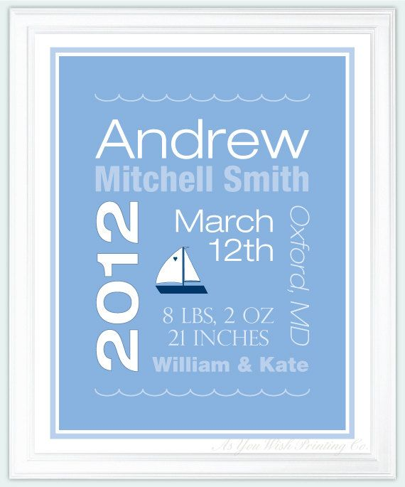Personalized Baby Boy Birth Announcement by AsYouWishPrinting, $17.00