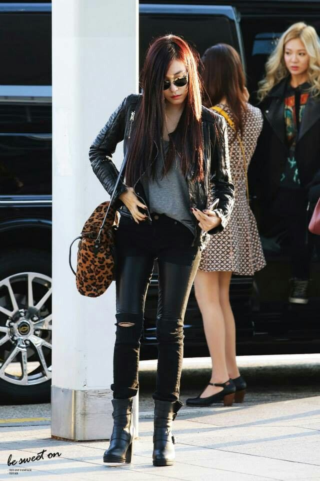 Tiffny Edgy Style Snsd Fashion Style Airport Redcarpet Events Pinterest Bags Pants And