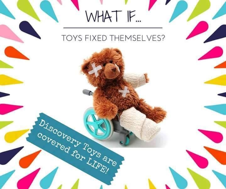 Any defective Discovery Toys product will be replaced at absolutely no cost to you. Our product warranty applies to manufacturer's defects and excludes damage due to misuse or mishandling. In addition, Discovery Toys backs every product with an unconditional satisfaction guarantee! What a great company!