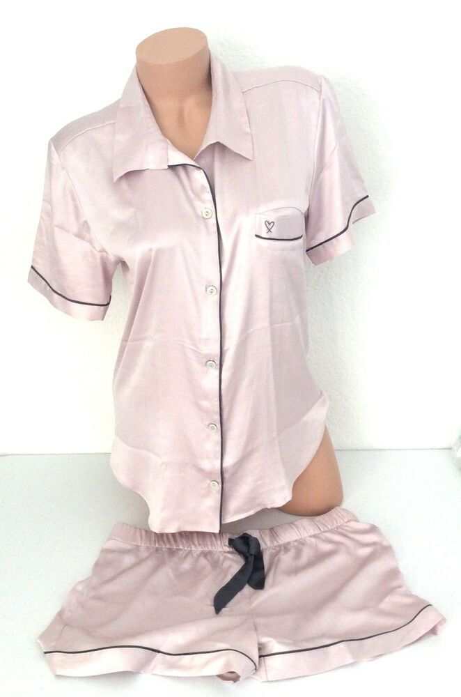 NEW Victoria Secret Satin Afterhour Pajama PJ Top Short Bottom Pink Boxer  Set L  VictoriasSecret  PajamaSets bf1c33609