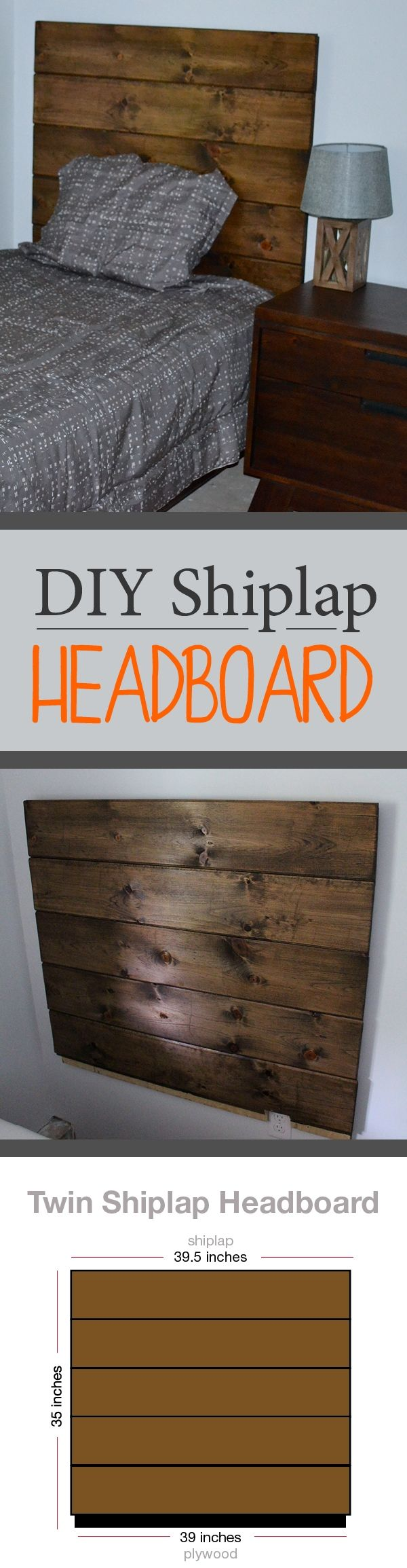 DIY Shiplap headboard perfect for a kids bedroom attaches right to the wall. Plans for Twin size and Queen size bed.