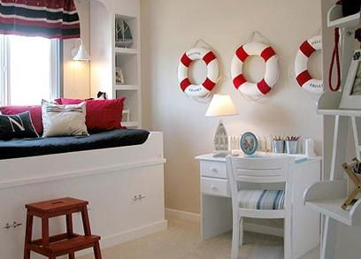 I like the 3 buoys on the wall. Should add that to Axel's room...