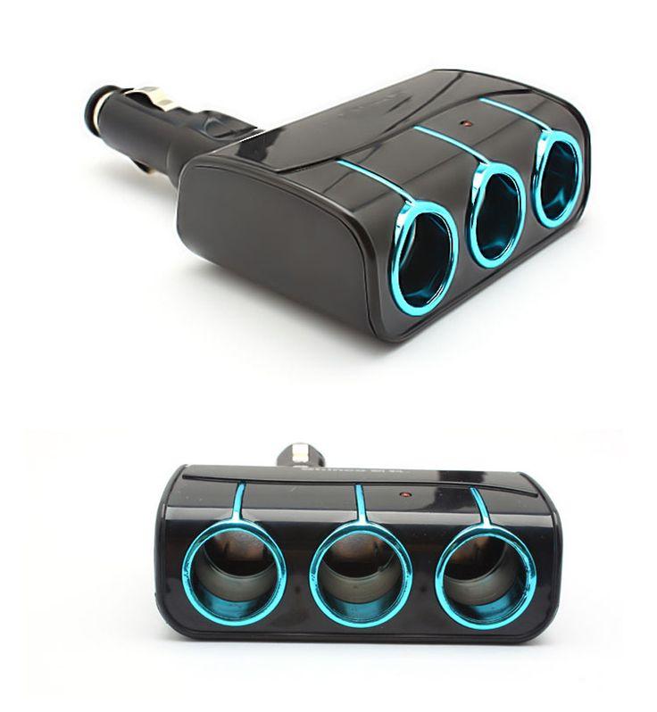 Baru kedatangan Mobil Pemantik Rokok 3 Way Auto Socket Splitter 12 V/24 V Charger Power Adapter Dengan Biru lampu
