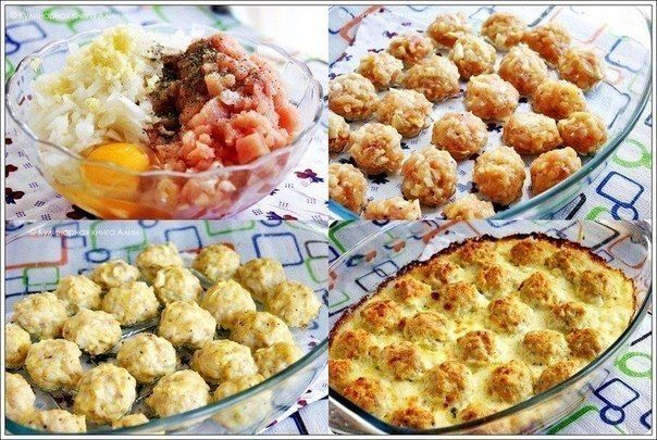 Tender chicken balls in cheese and cream sauce