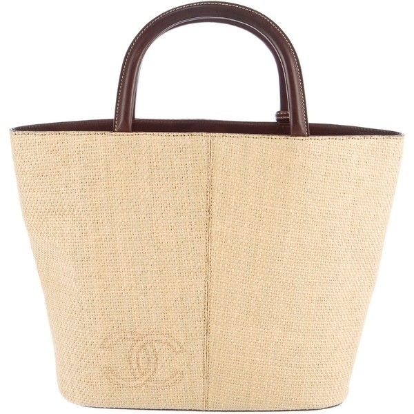 Pre-owned Chanel Vintage CC Straw Tote (845,140 KRW) ❤ liked on Polyvore featuring bags, handbags, tote bags, neutrals, tote purses, straw tote bags, straw hand bags, beige tote and man bag