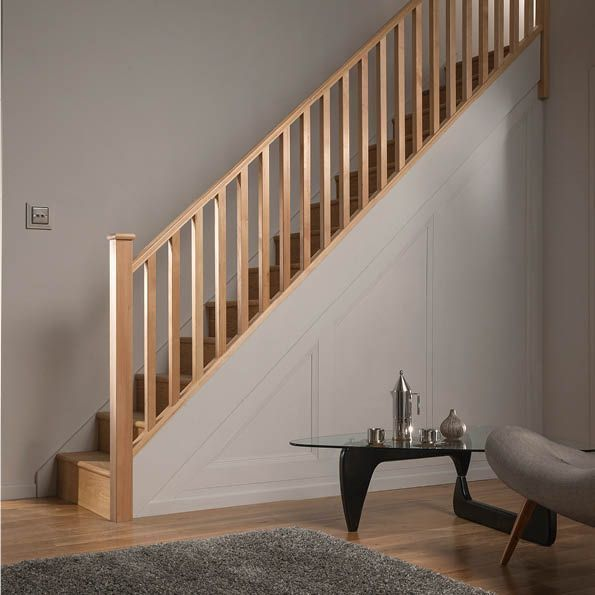 Square Hemlock 41mm Complete Banister Project Kit Departments Diy At B Q Interior Stair Railing Stair Railing Kits Wood Railings For Stairs