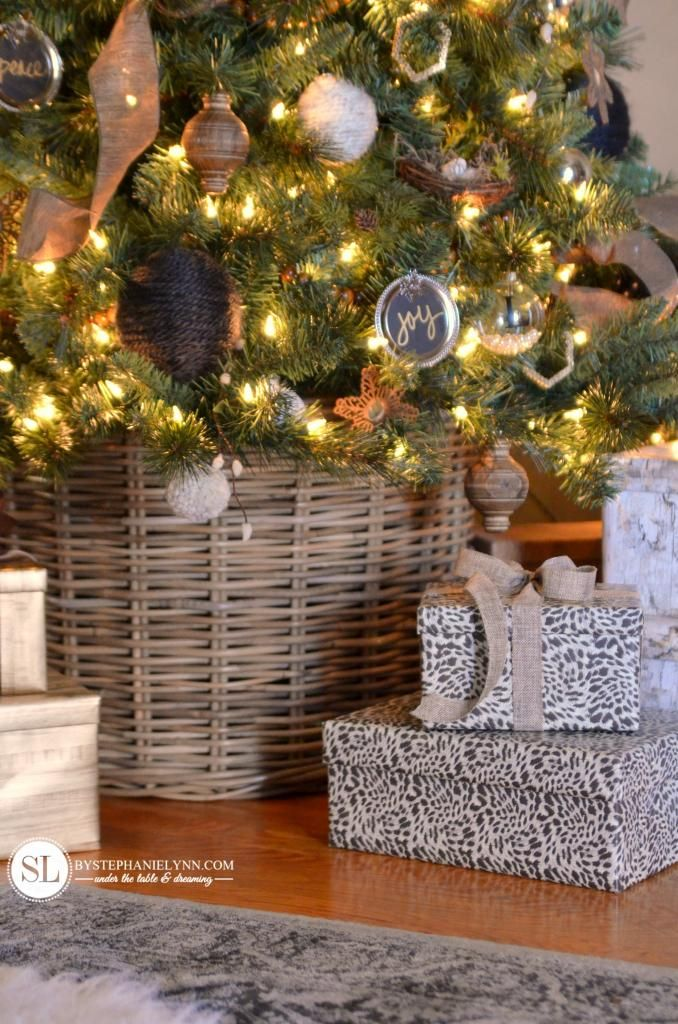 Christmas Tree Basket Base instead of a traditional tree stand and skirt #michaelsmakers #tagatree
