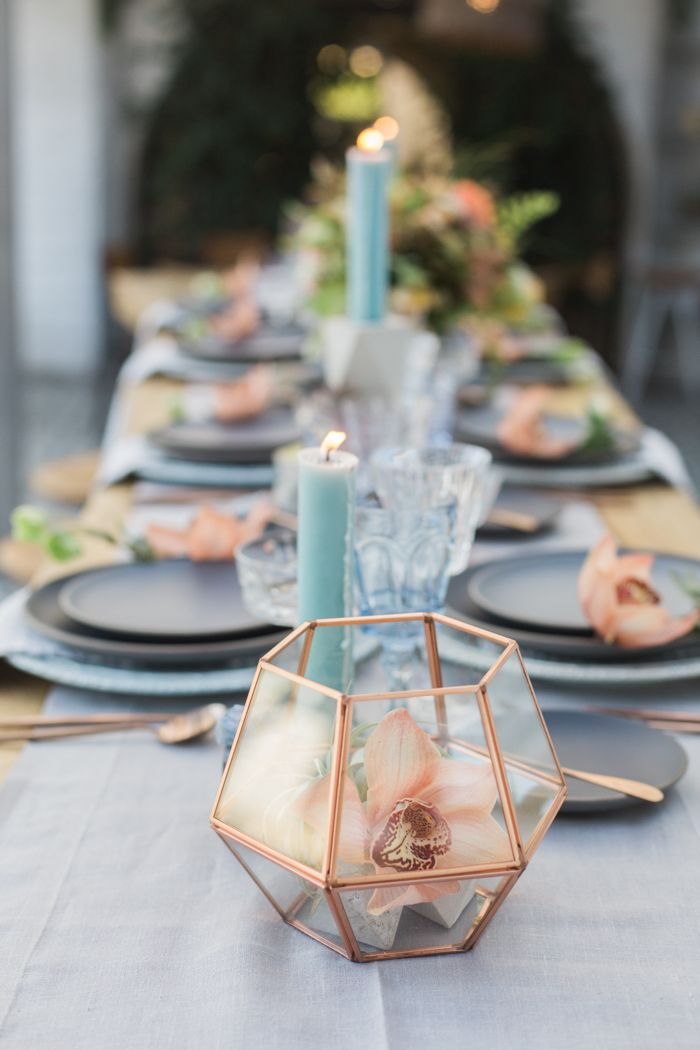 La Tavola Fine Linen Rental: Tuscany Silver Table Runner with Ballard Indigo Napkins | Photography: Molly & Co., Coordination & Styling: Hive Events SB, Floral Design: Cocorose Designs, Tabletop Rentals: Casa de Perrin