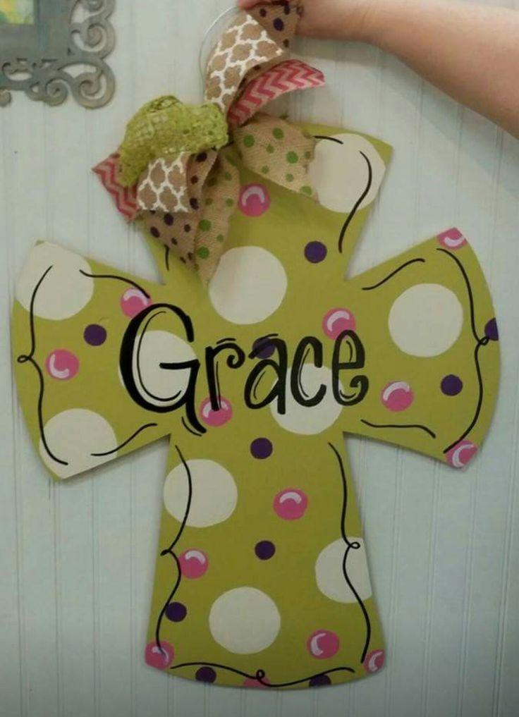Wooden Door Hanger Cross  / Religious Door Hanger / polka-dots / Craft Night Out located in Statesville Nc