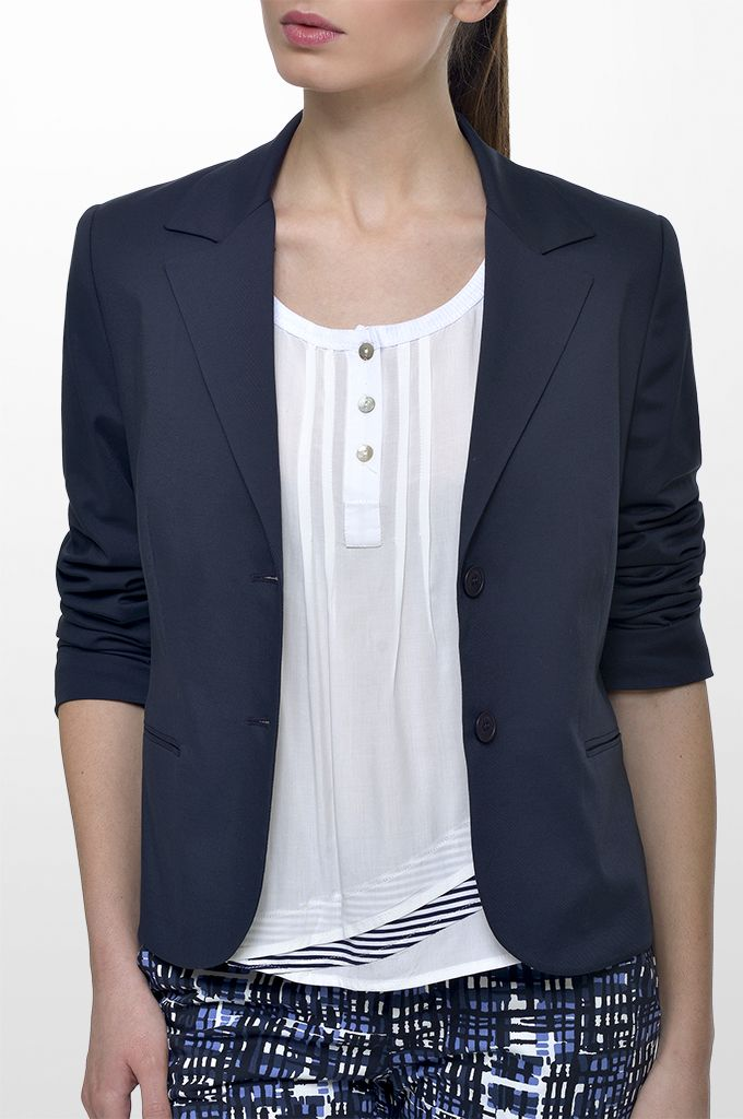Sarah Lawrence - two-button blazer, short sleeve blouse with striped details, cropped printed pant.