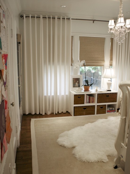 Traditional Spaces Woven Shades Drapes White Design