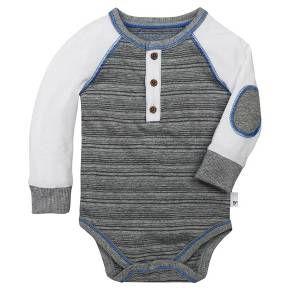 Burt's Bees Baby® Boys' Organic Variegated Stripe Bodysuit - Heather Grey : Target