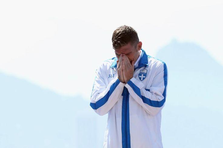 Weinst du etwa? Der Grieche Spiros Gianniotis holt Silber im Marathon-Schwimmen...