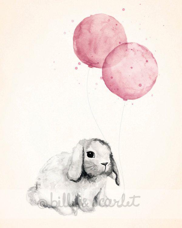 Baby Girl Nursery Print 8x10, Rose Pink Shabby Chic Nursery Decor, Watercolour Illustration of Bunny Rabbit and Balloons.