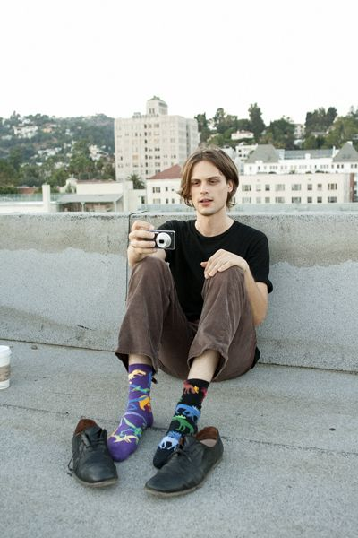 He never wears matching socks, and the one time he did he sprained his ankle. He thinks matching socks is bad luck:) Matthew Gray Gubler