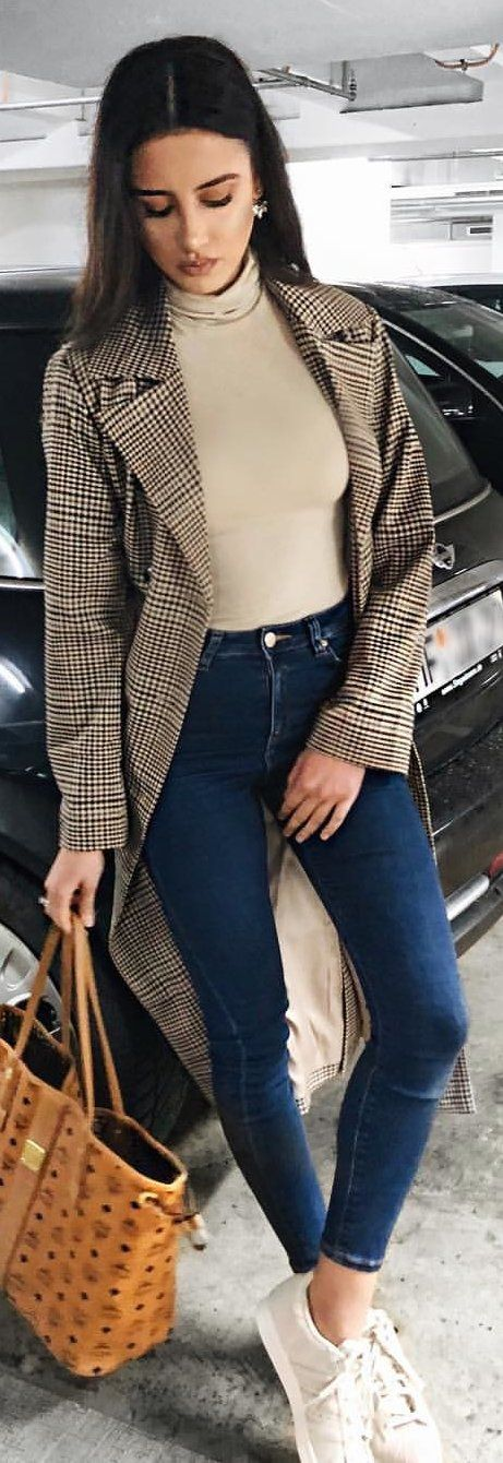 #winter #outfits brown blazer, turtleneck shirt, and blue jeans outfit