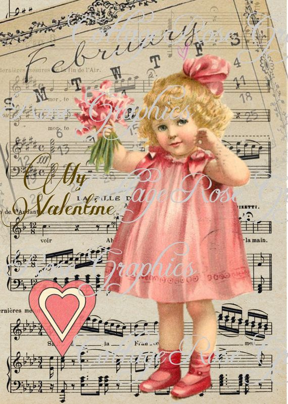 Valentine February 14 series Pink Dress by CottageRoseGraphics, $3.25