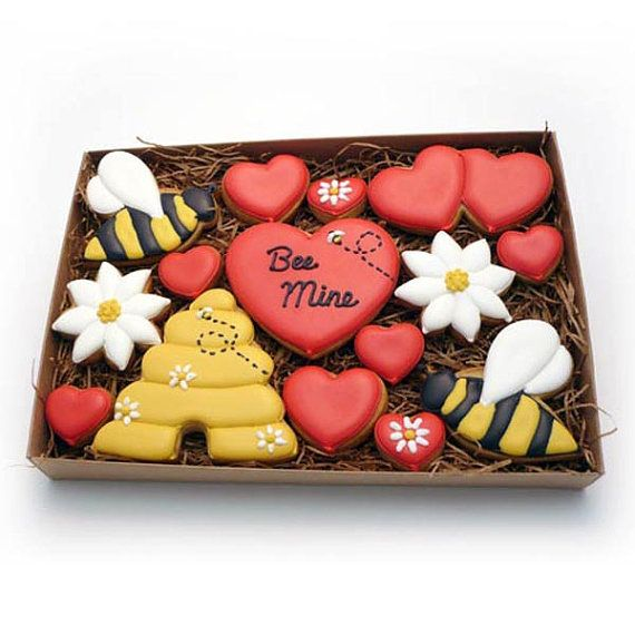 Decorated Cookies  Valentine's Day  Bee Mine  Medium by katieduran, $21.95 http://www.etsy.com/listing/119592635/decorated-cookies-valentines-day-bee?