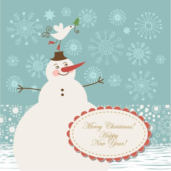 free vector illustration of merry christmas and happy new year snow