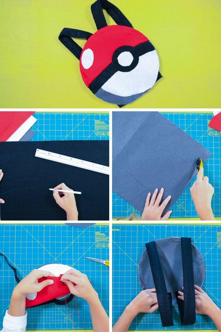 Cómo hacer una mochila pokeball➜ Solo necesitas fieltro, una cremallera, aguja e hilo.  #Manualidades #Mochila #Pokeball #DIY #Pokemon #Go #DIY