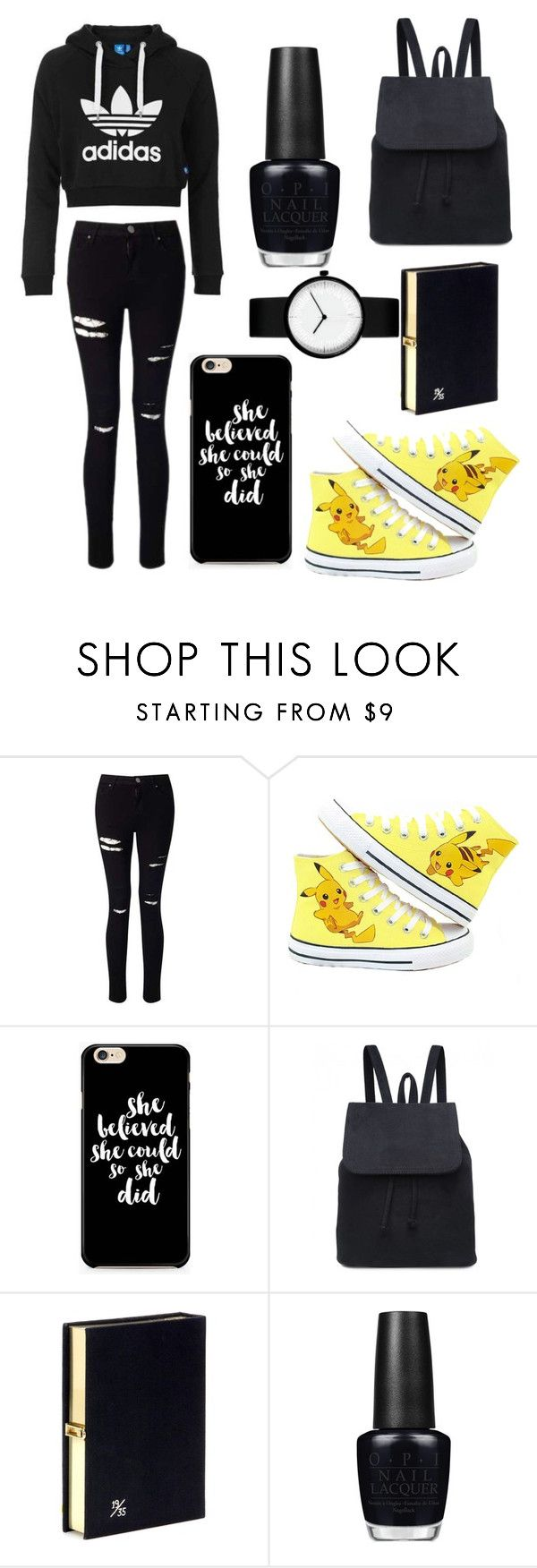 """black&Pikachu!!!"" by theteress ❤ liked on Polyvore featuring adidas Originals, Miss Selfridge, Olympia Le-Tan and OPI"