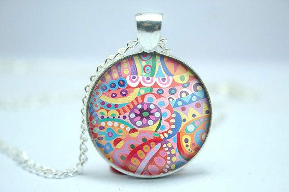 Glass dome pendant abstract floral image necklace by PendArte