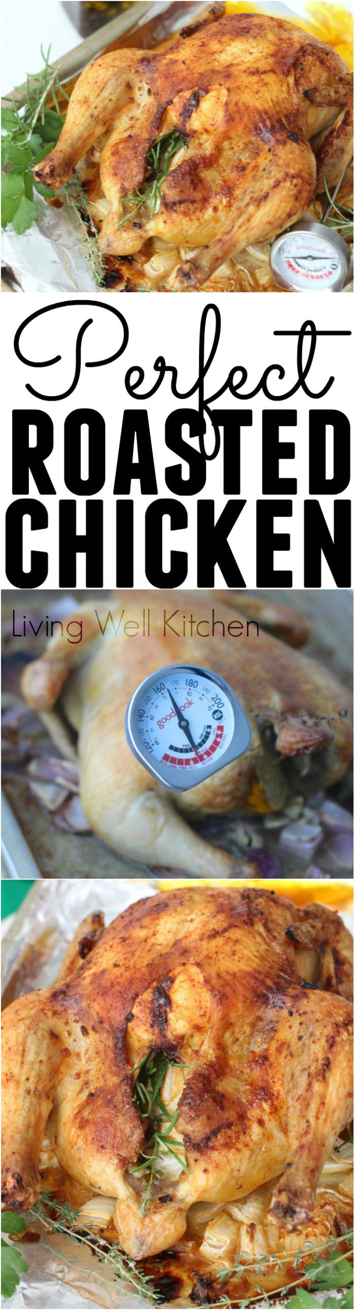 Every single detail you need to make the Perfect Roasted Chicken every single time! This recipe is fool-proof for making a whole chicken roasted perfectly in the oven. Quite possibly the tastiest way to enjoy chicken