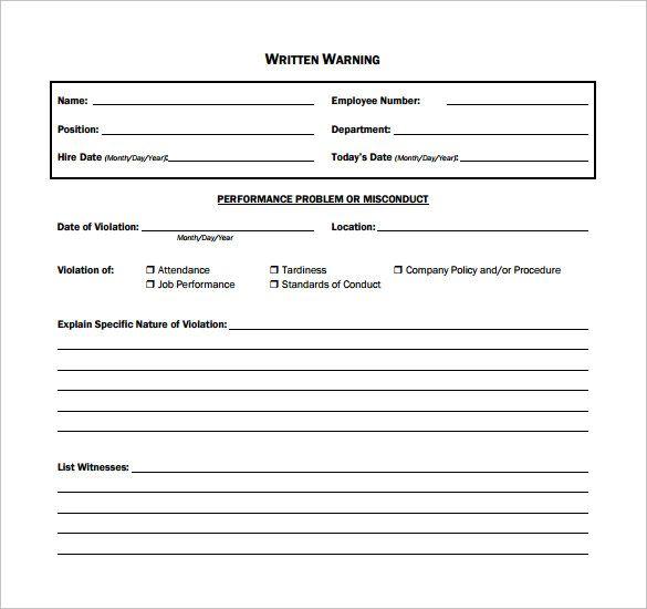 Employee Written Warning Template template Sample resume