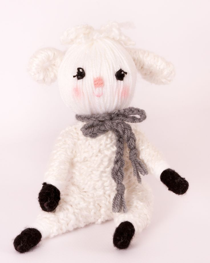 "Cutest lamb yarn doll ""the Lamb"" from ""Yarn Whirled: Fairy Tales, Fables, and Folklore""."