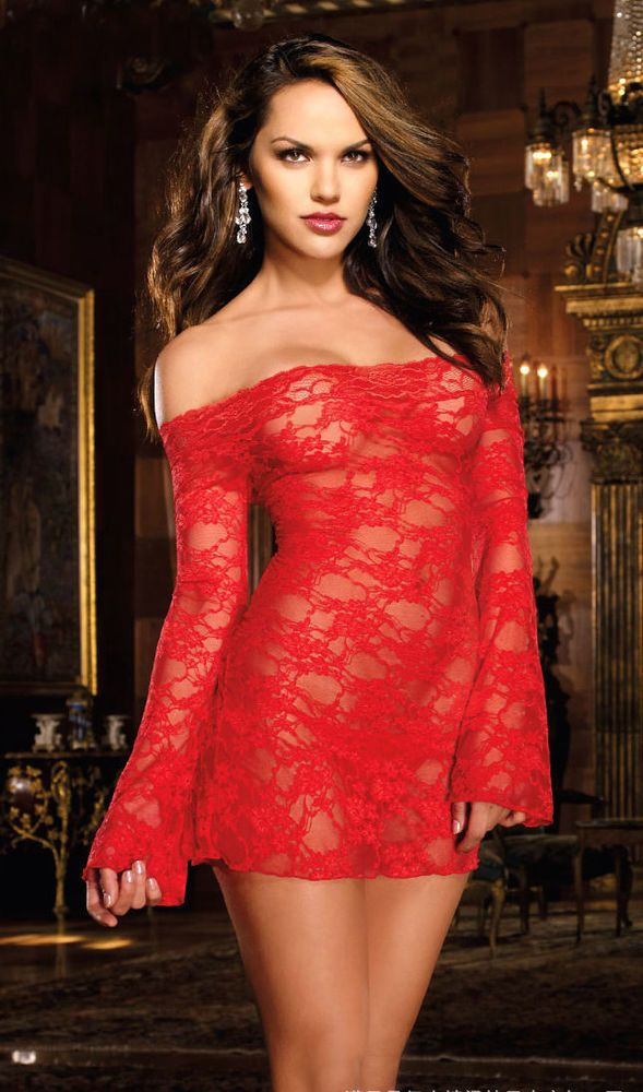 Sexy Womens Lingerie Red Lace Babydoll Teddy Dress Long -9525