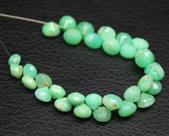 Natural Green Chrysoprase Faceted Onion Drop Beads Strand – Jewels Exports