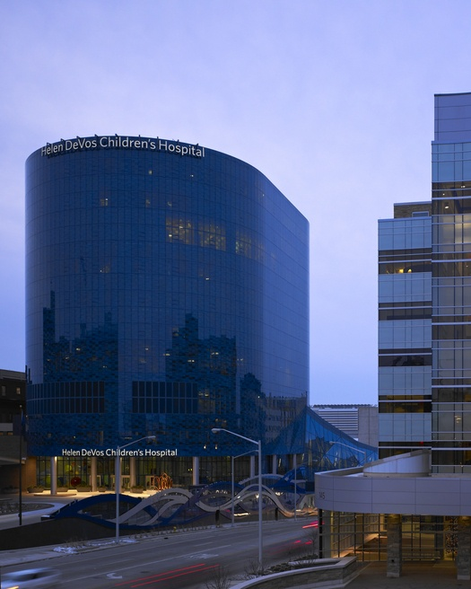 Helen DeVos Children's Hospital  includes a tower that consists of over 100,000 square feet of Pilkington Arctic Blue™, with a Viracon coating.