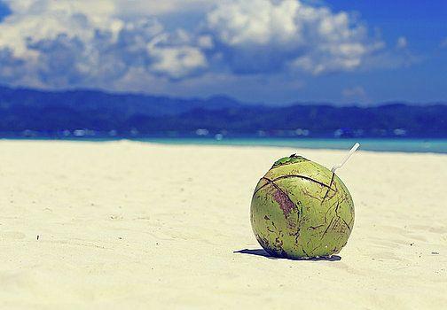 Coconut drink on tropical sand beach by Nadya&Eugene Photography #TropicalBeach #Coconut #NadyaEugenePhotography