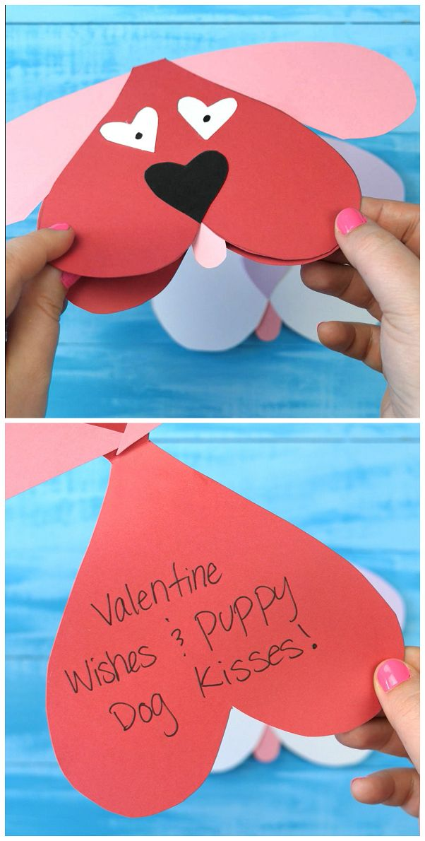 4b1d2c349c30b72780f31ec96f9d82ad - Cute Dog Valentines Day Craft For Kids - Folding valentine card with a free prin...