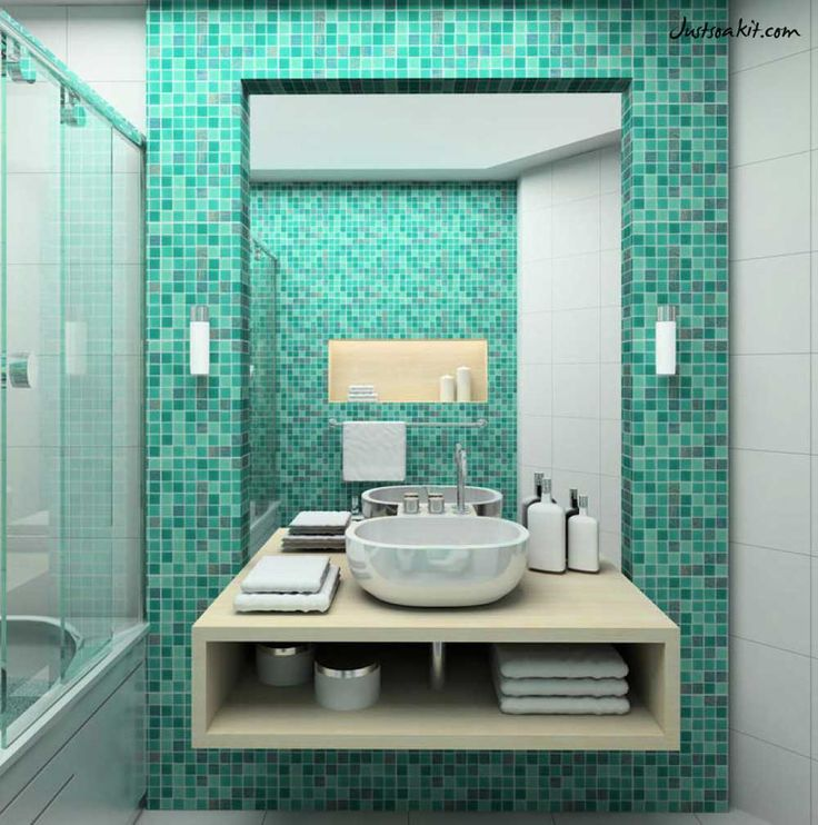 Adorable Bathroom Turquosie Interior Design With Mosaic Tile Wall Beside  Mirror Wall Mounted Also Simple Wooden Vanity Bowl Sink Towel Shelves  Underneath ... Part 82