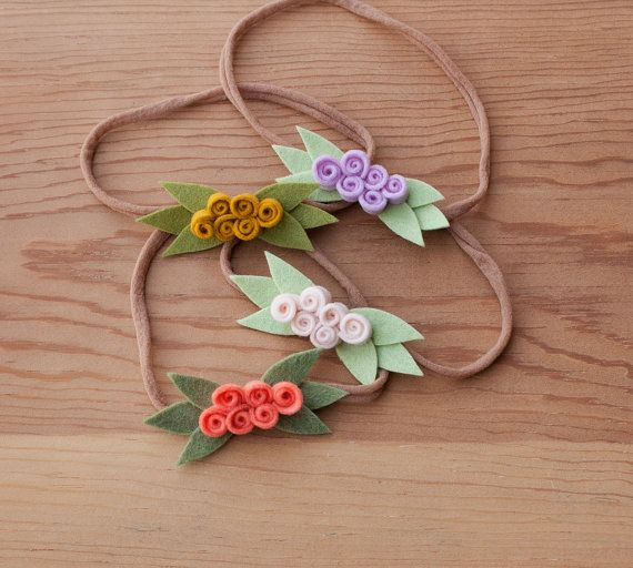 Felt Flower Headband Rosette Baby Girl by LittleSugarSnapShop