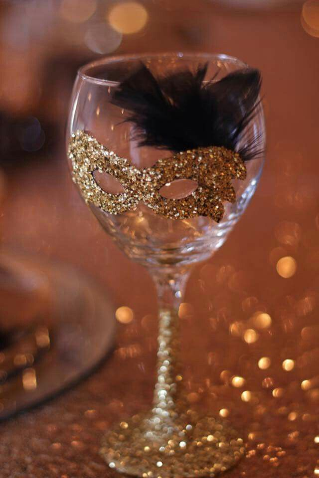 Masquerade Wine Glass