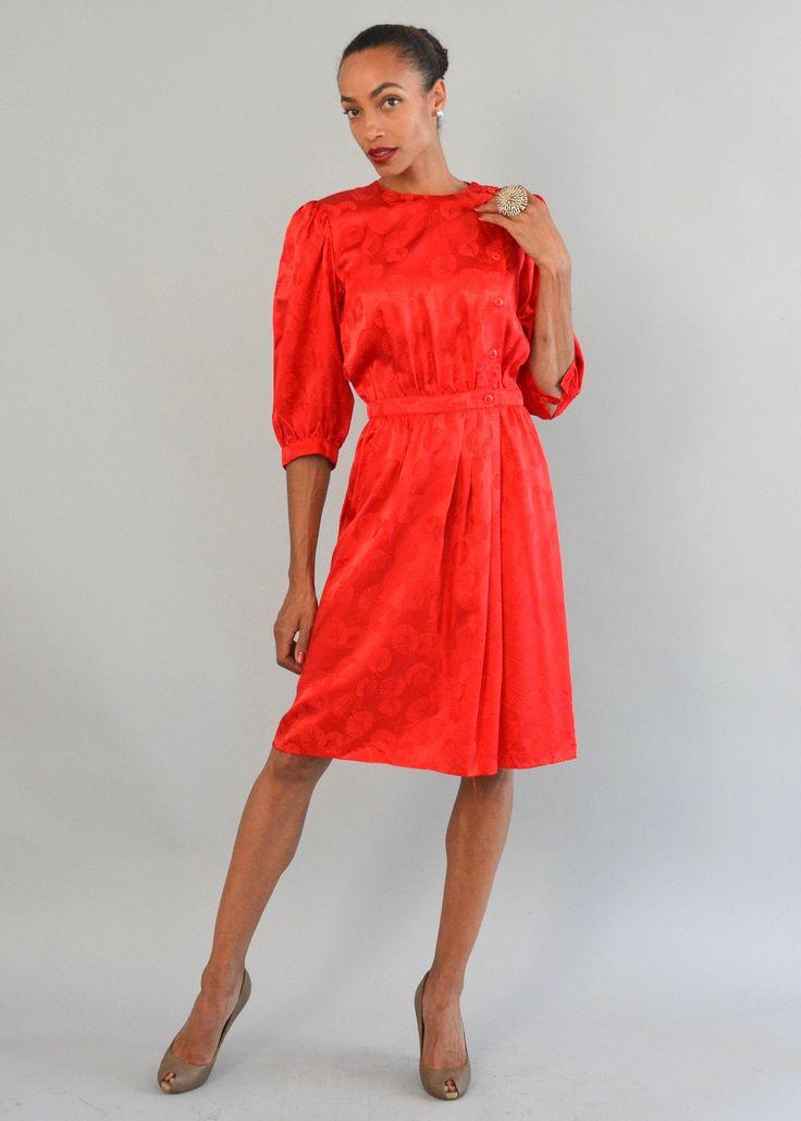 Red Silk Jacquard Dress