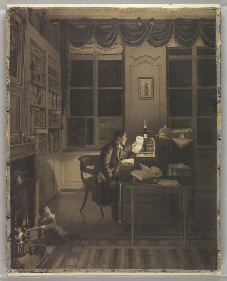 This large charcoal drawing shows a man seated at his desk, reading a document. A tole lamp in the Empire style gives off a bright light. A small child appears to be feeding paper into the fireplace; a tea kettle is placed above. White fringed shades are drawn to the tops of the windows, which are dressed with a swagged valance on a pole. There is a partial view of a striped carpet in the foreground.